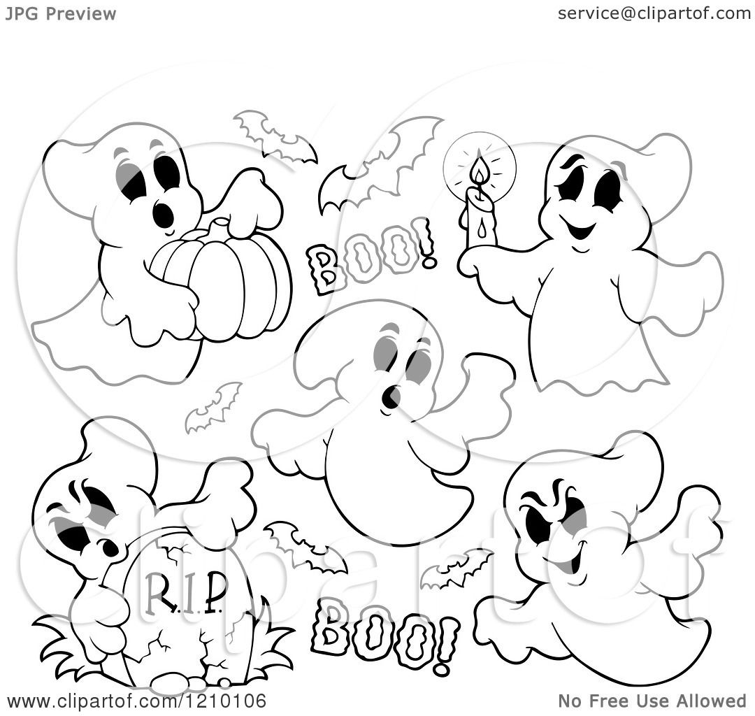 Cartoon Of Black And White Halloween Ghosts And Bats