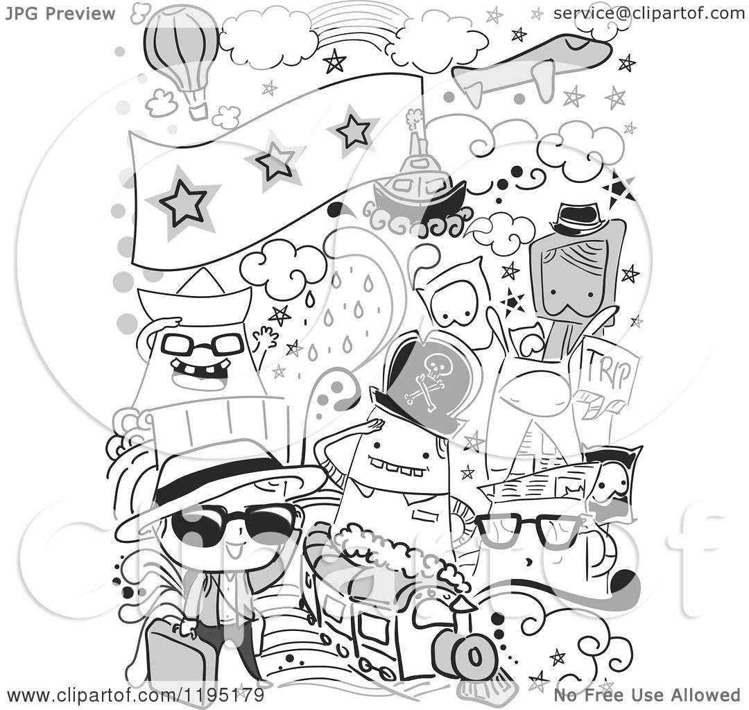 Cartoon Of Black And White Travel Doodles
