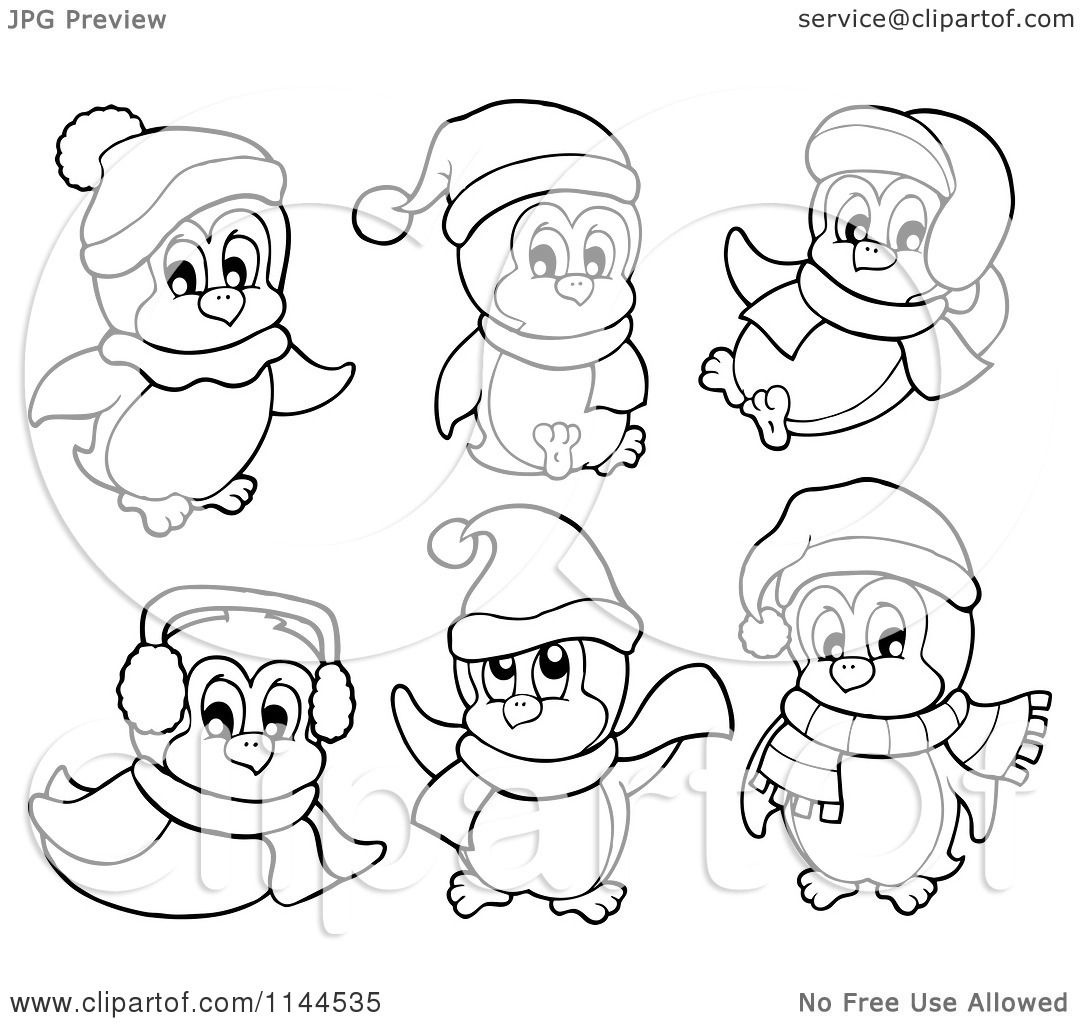 Cartoon Of Cute Black And White Penguins Wearing Scarves