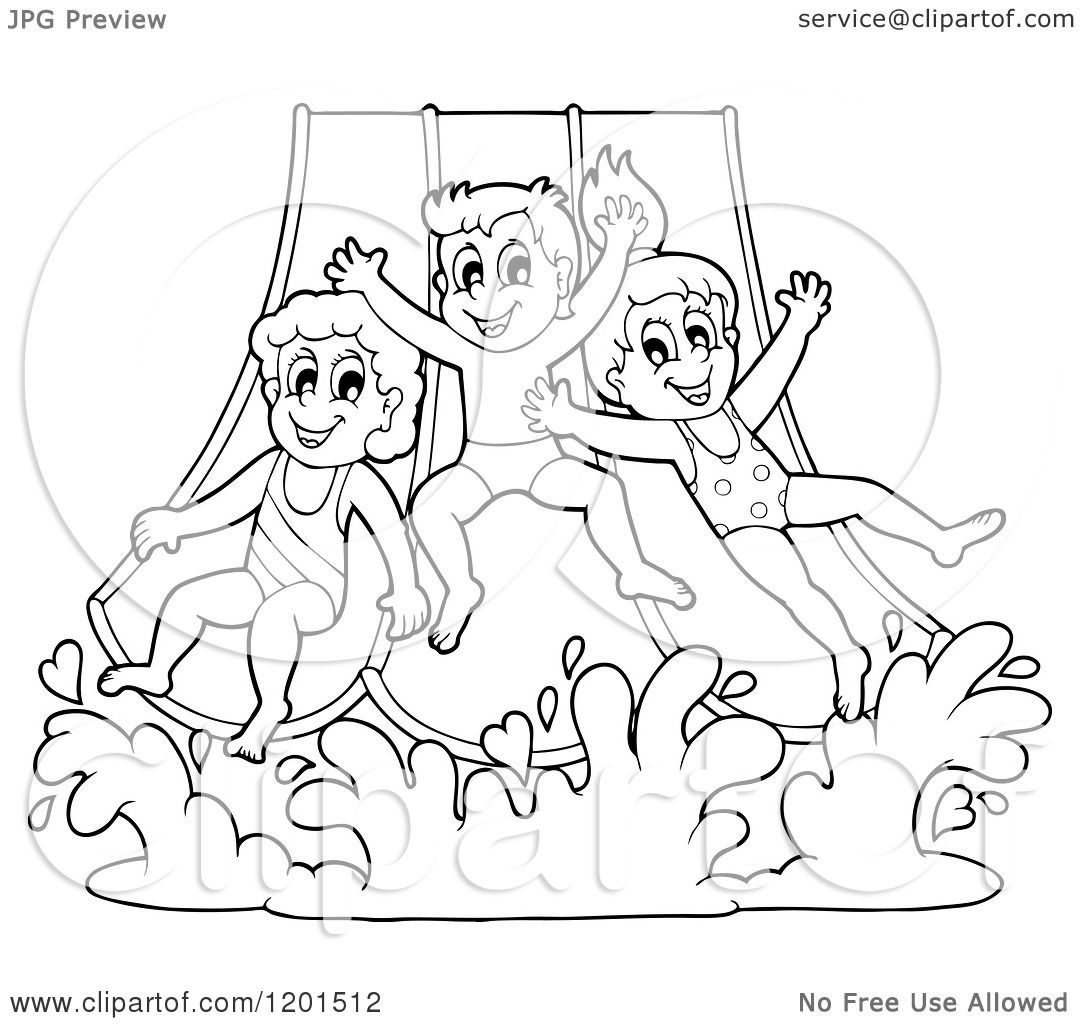 Cartoon Of Happy Outlined Children Going Down A Water Park