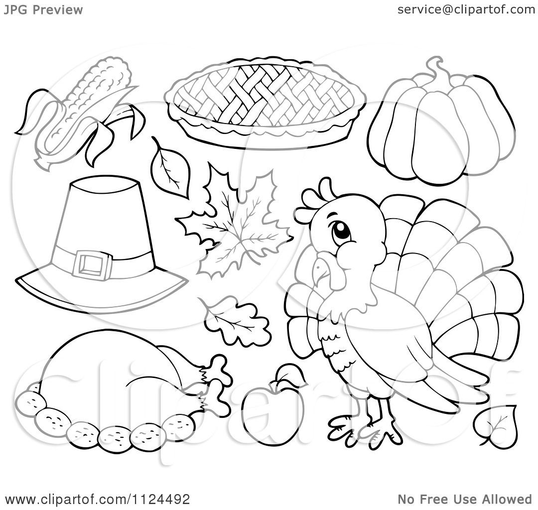 Cartoon Of Outlined Thanksgiving Items