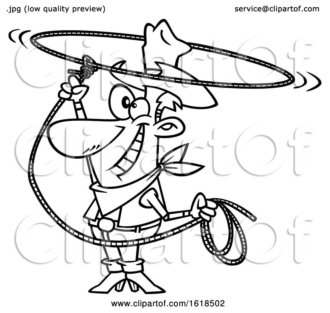 Cartoon Outline Cowboy Swinging A Lasso And Performing A