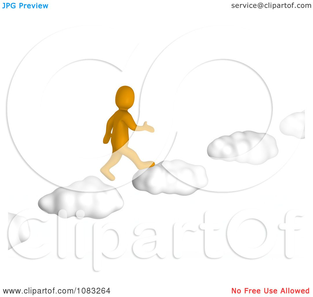 Clipart 3d Anaranjado Orange Man Walking On Cloud Steps