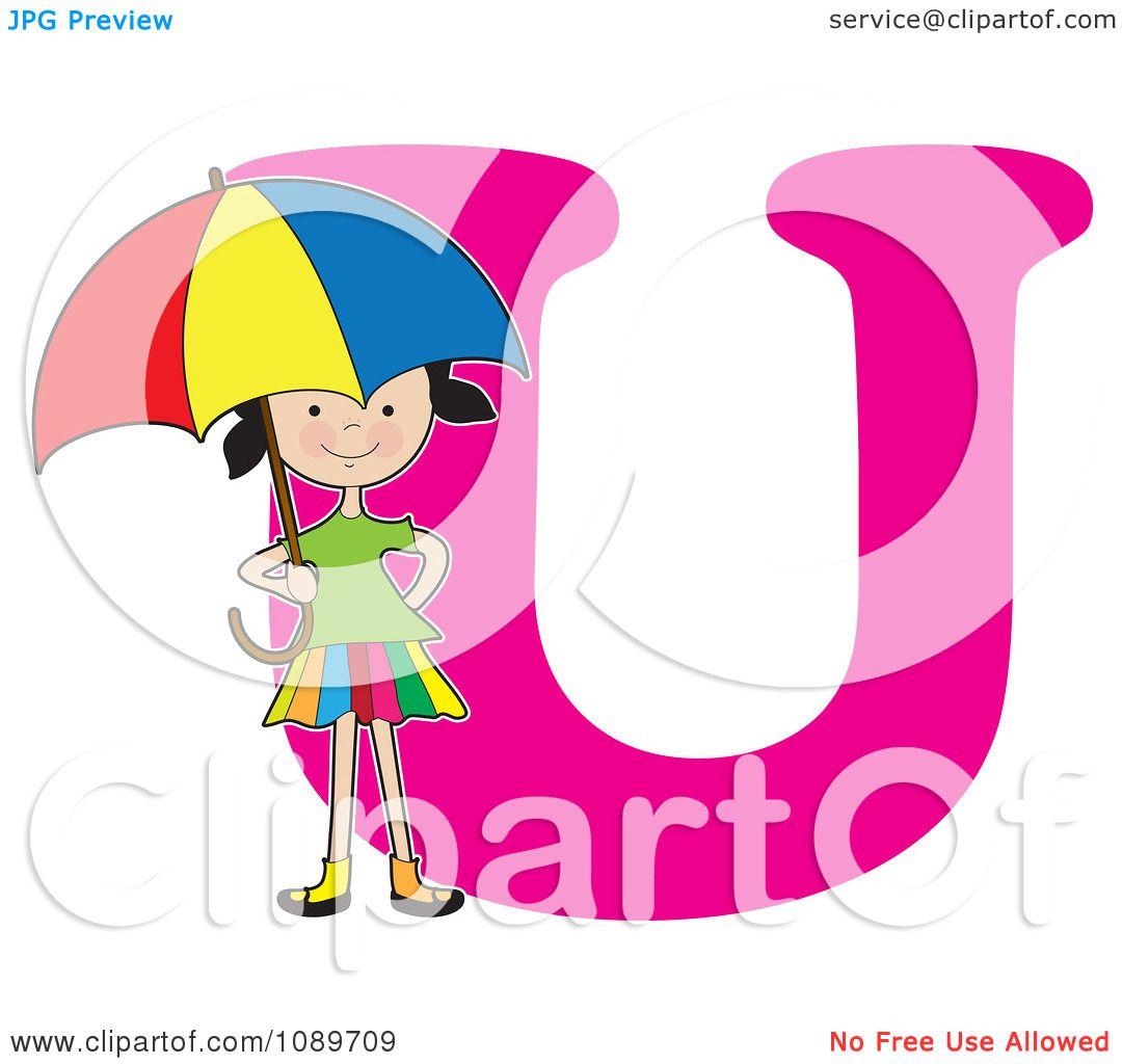 Clipart Alphabet Girl Holding An Umbrella Over Letter U