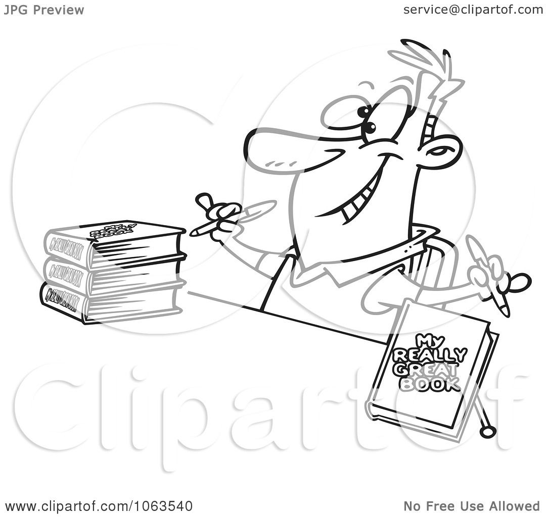 Clipart Author Signing Books Black And White Outline