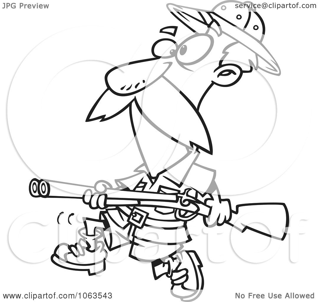 Clipart Big Game Hunter With A Rifle Black And White