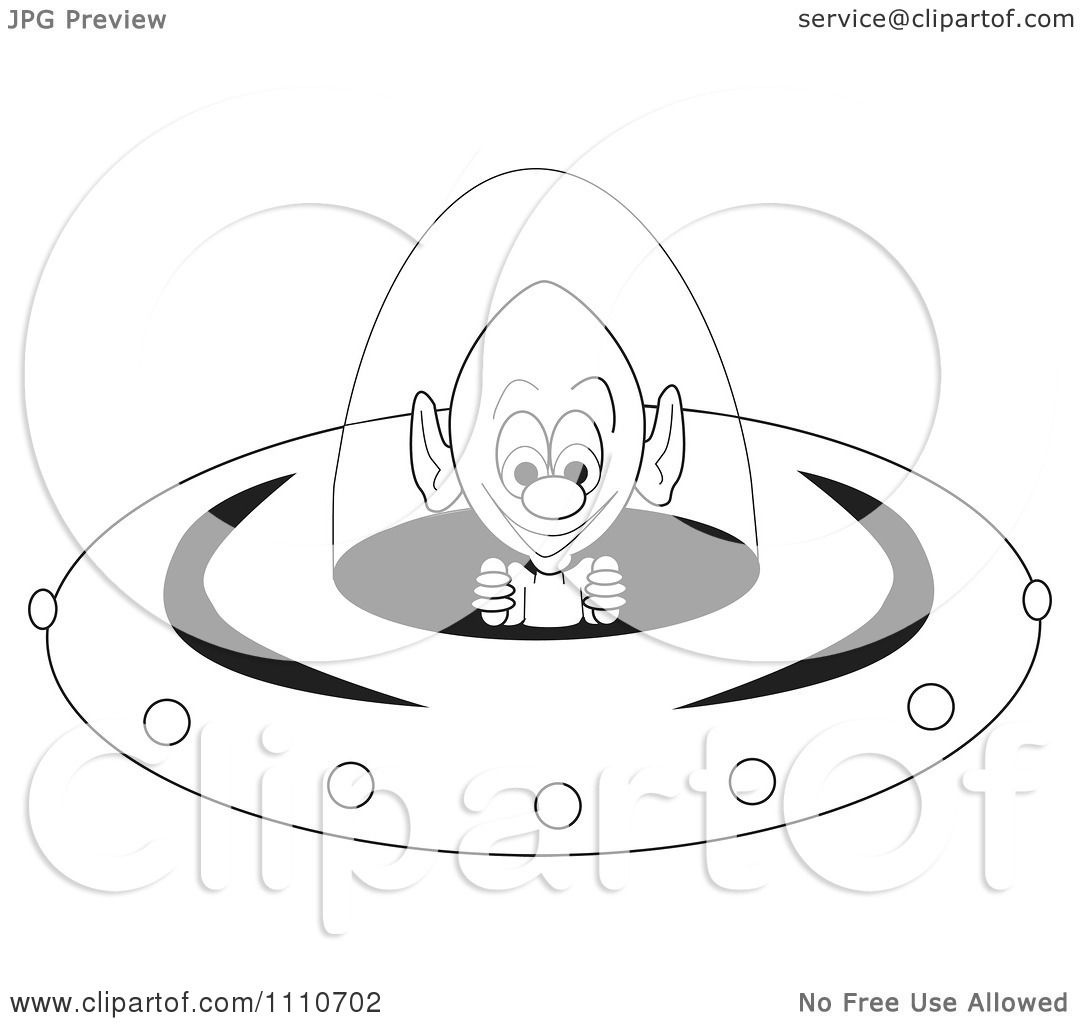 Clipart Black And White Alien Operating The Controls Of A Flying Saucer