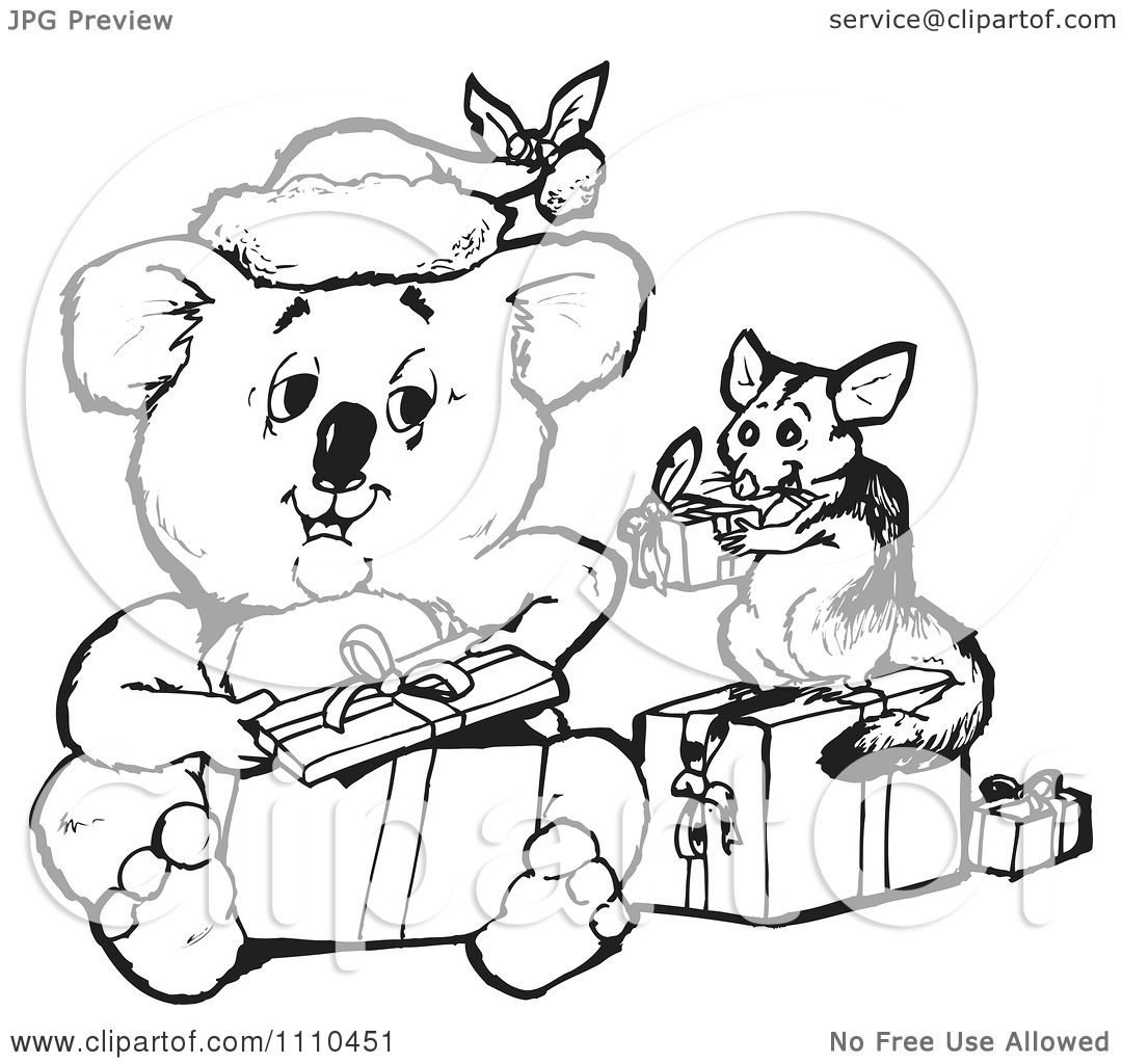 Clipart Black And White Aussie Christmas Koala Opening
