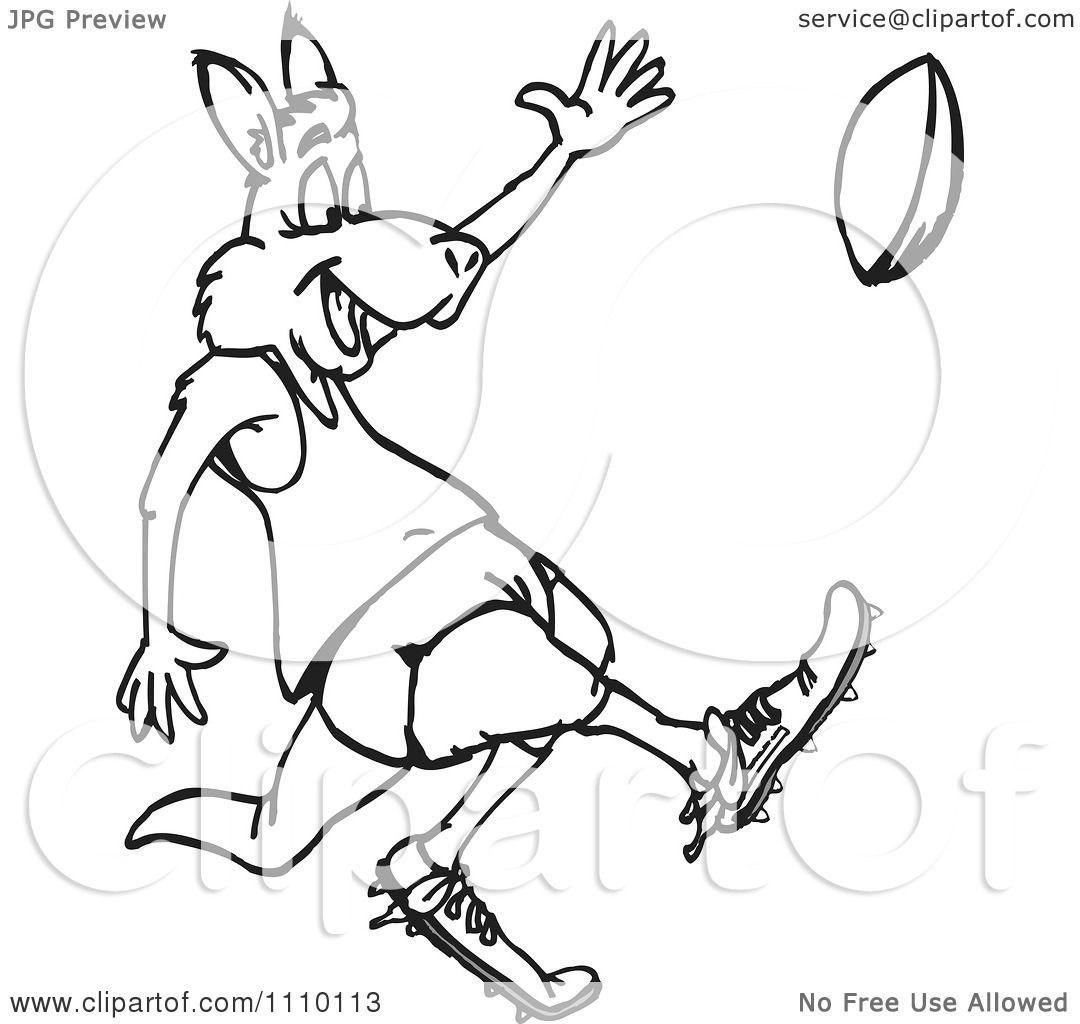 Clipart Black And White Aussie Kangaroo Playing Football