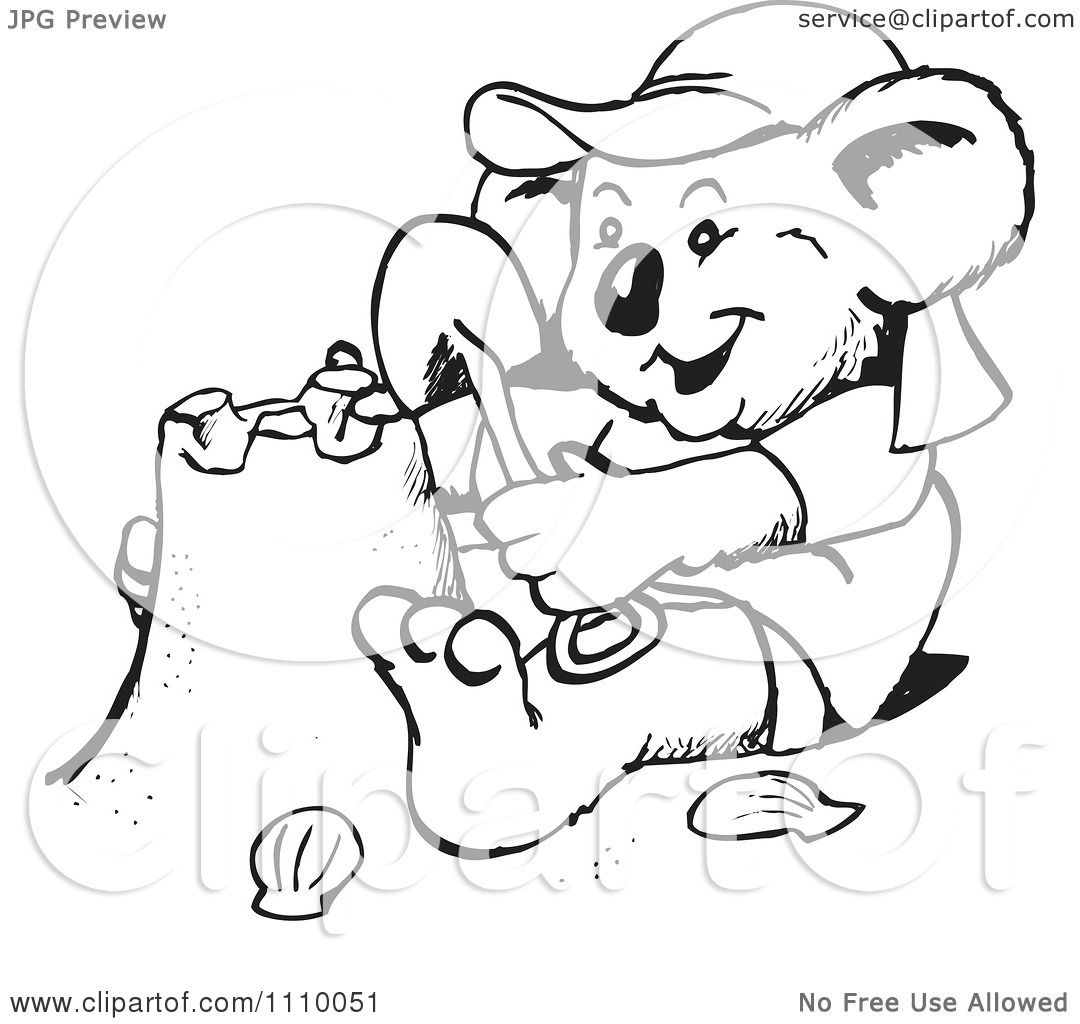 Clipart Black And White Aussie Koala Making A Sand Castle