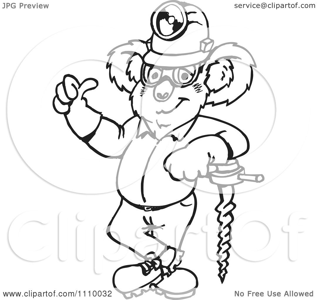 Clipart Black And White Aussie Koala Miner Worker Holding