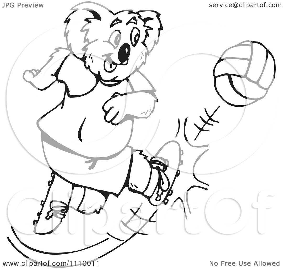 Clipart Black And White Aussie Koala Playing Soccer 2