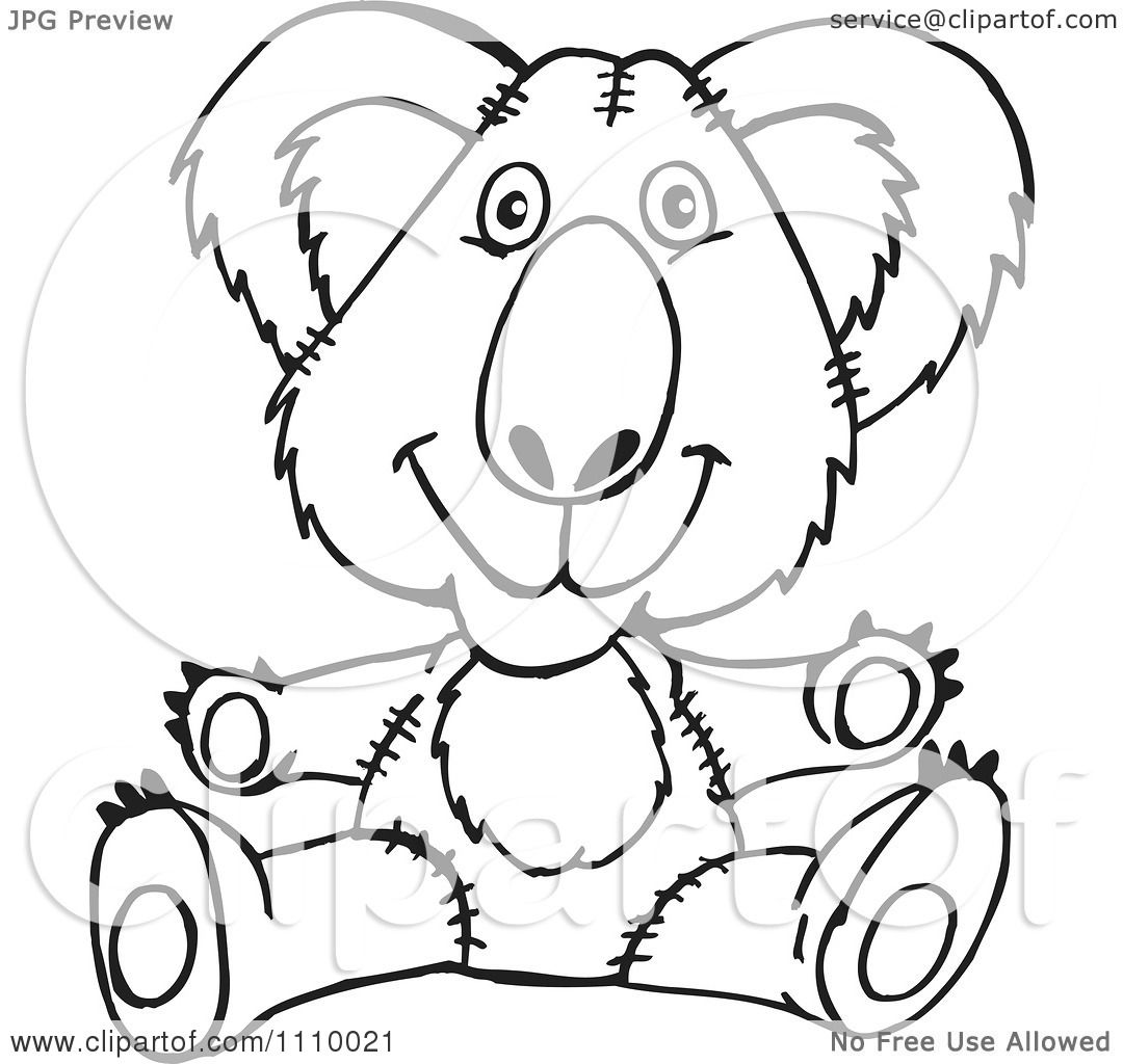 Clipart Black And White Aussie Koala Teddy Bear