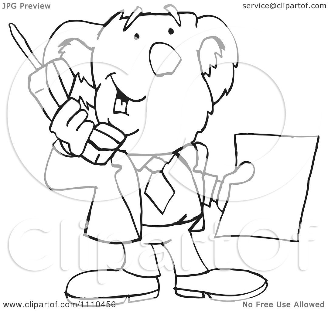 Clipart Black And White Aussie Koala Using A Cell Phone 1