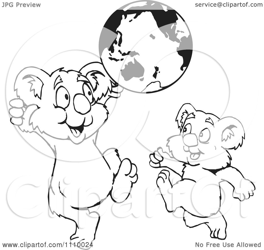 Clipart Black And White Aussie Koalas Playing With A Globe
