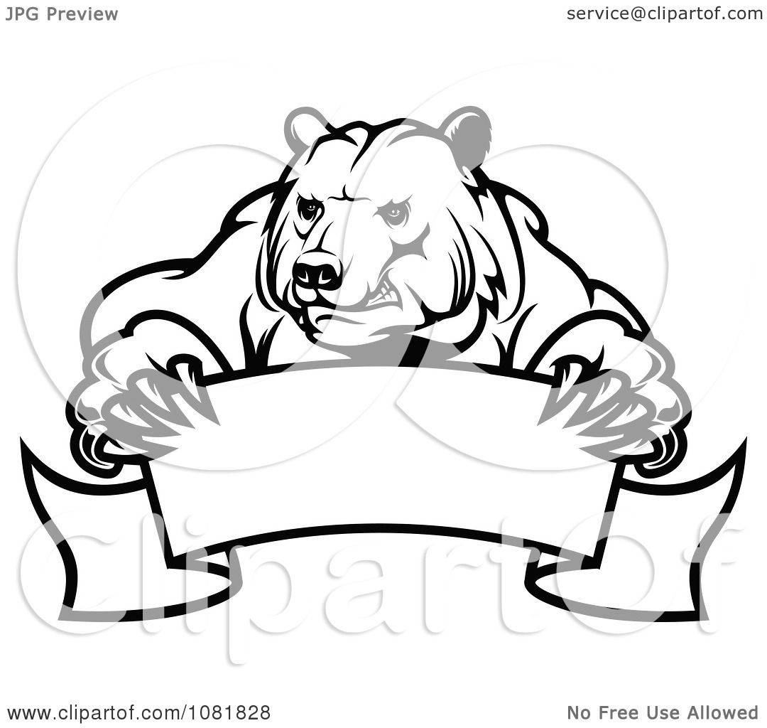 Clipart Black And White Bear Holding A Curved Banner