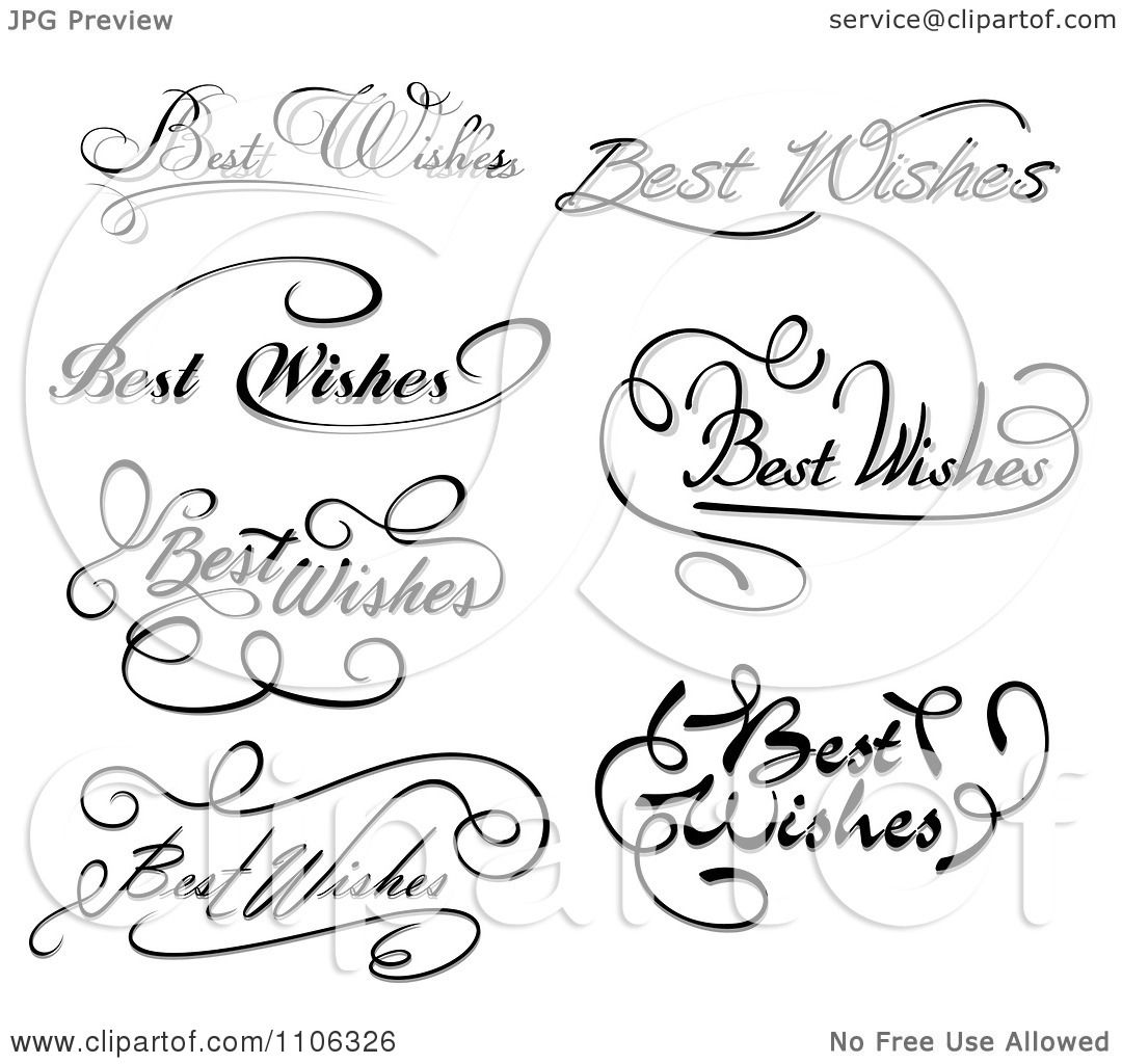 Clipart Black And White Best Wishes Greetings