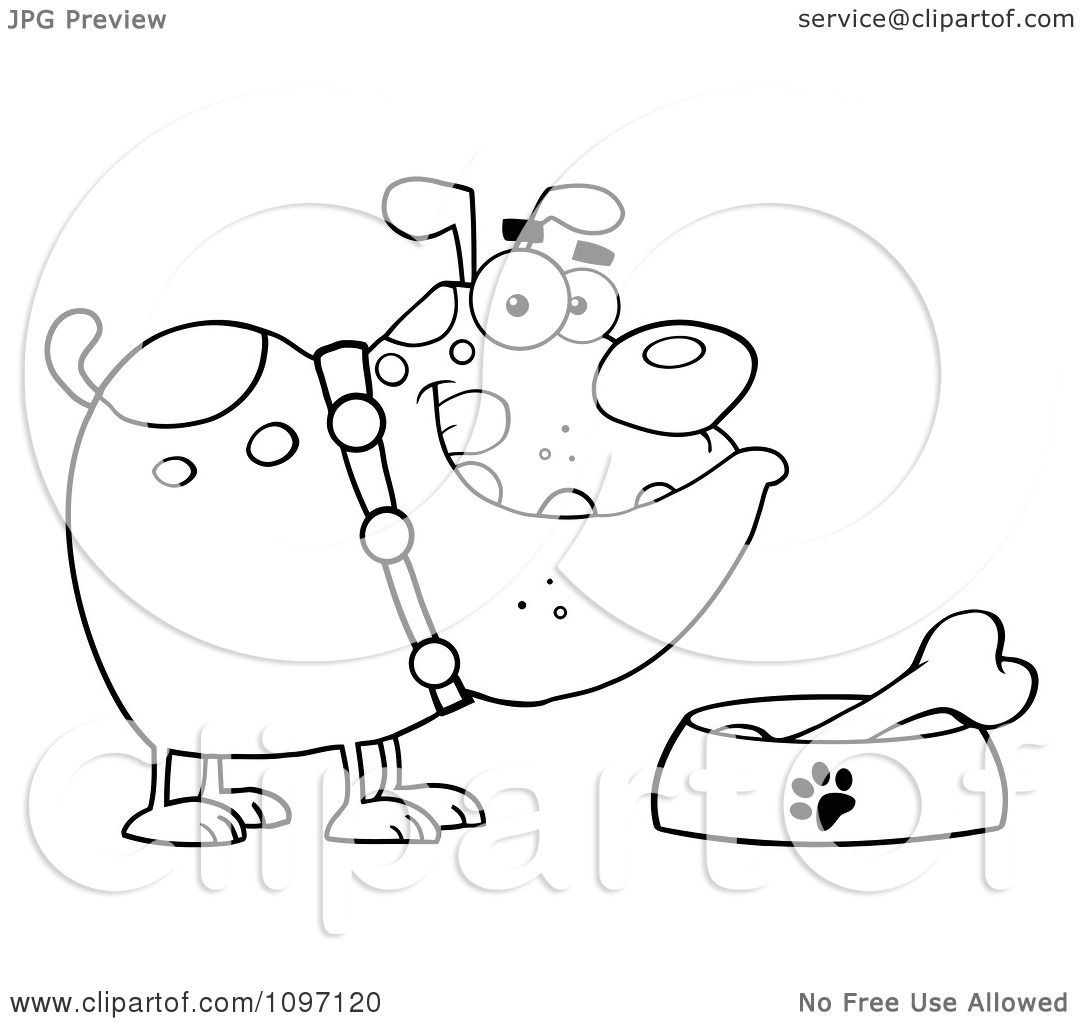 Clipart Black And White Bulldog With A Bone In His Dish