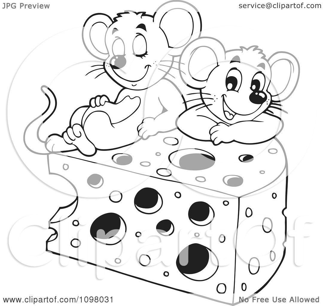 Clipart Black And White Cute Mice With A Wedge Of Cheese