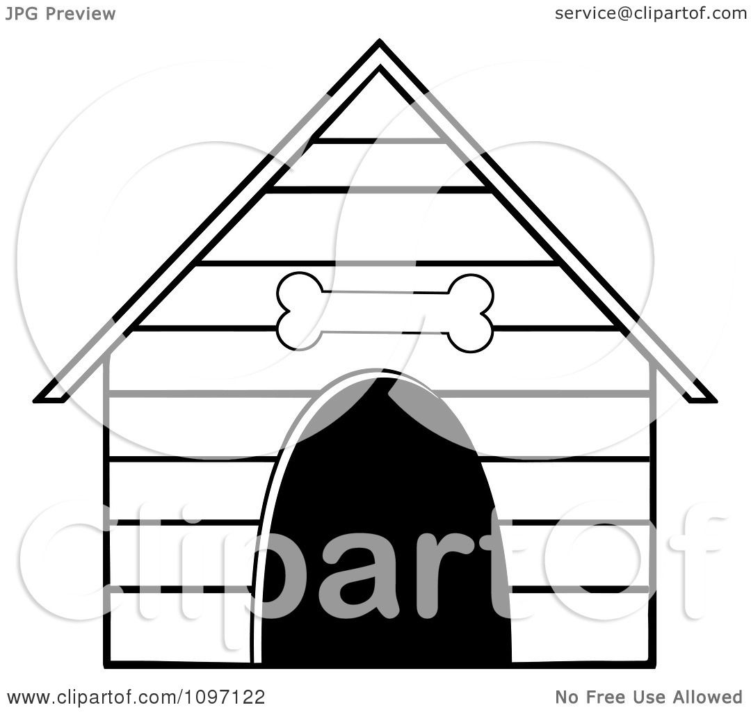 Clipart Black And White Dog House With A Bone Above The