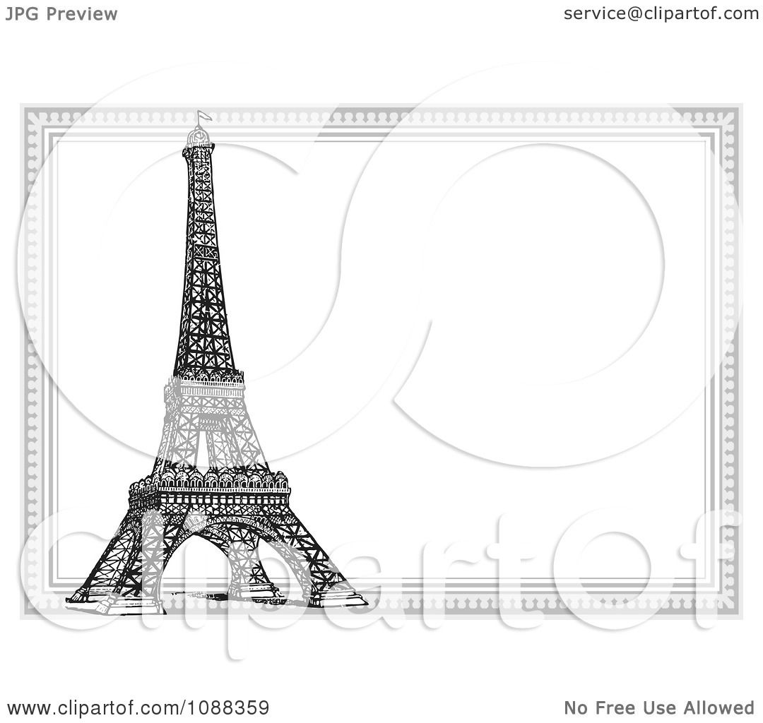 Clipart Black And White Eiffel Tower And Frame