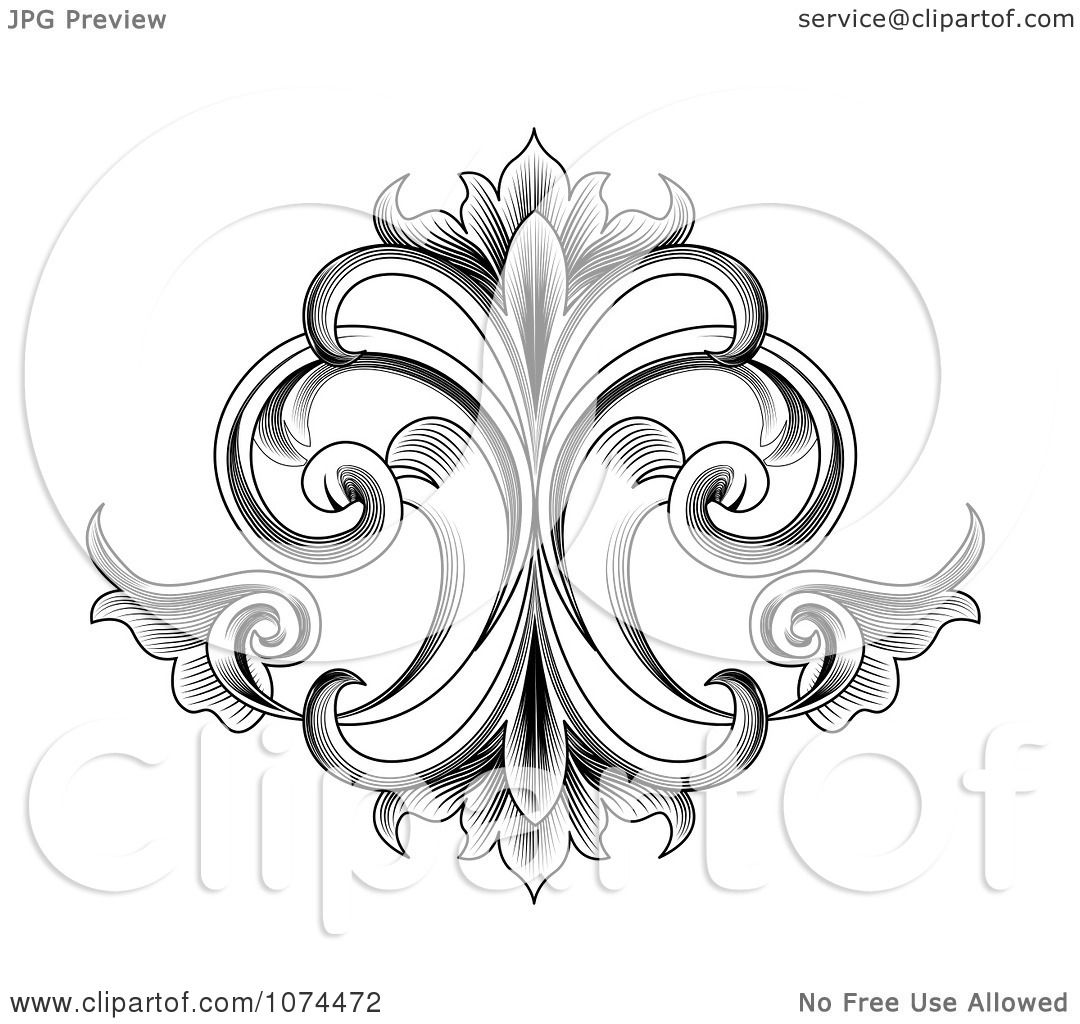 Clipart Black And White Engraved Victorian Floral Design