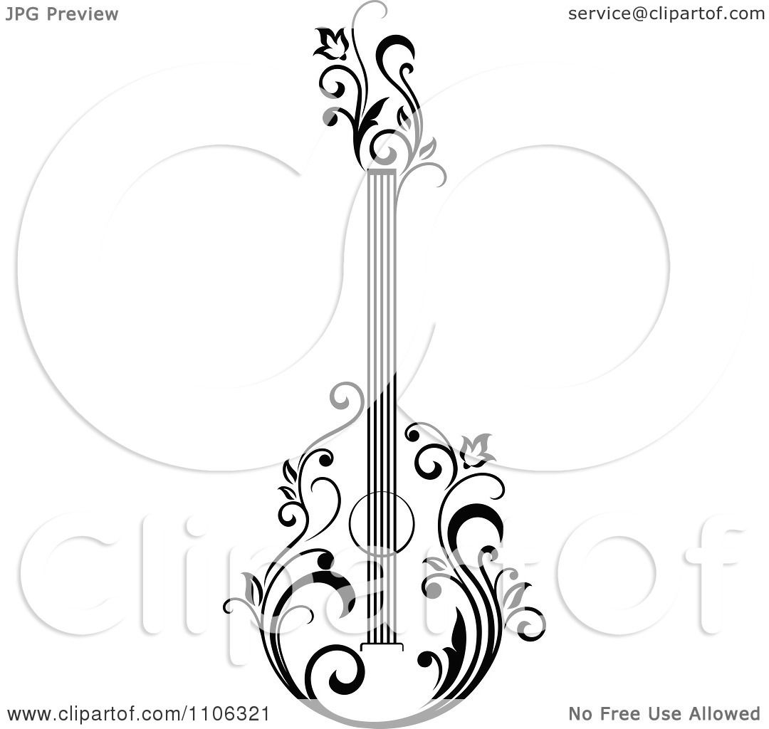 Clipart Black And White Floral Guitar 1