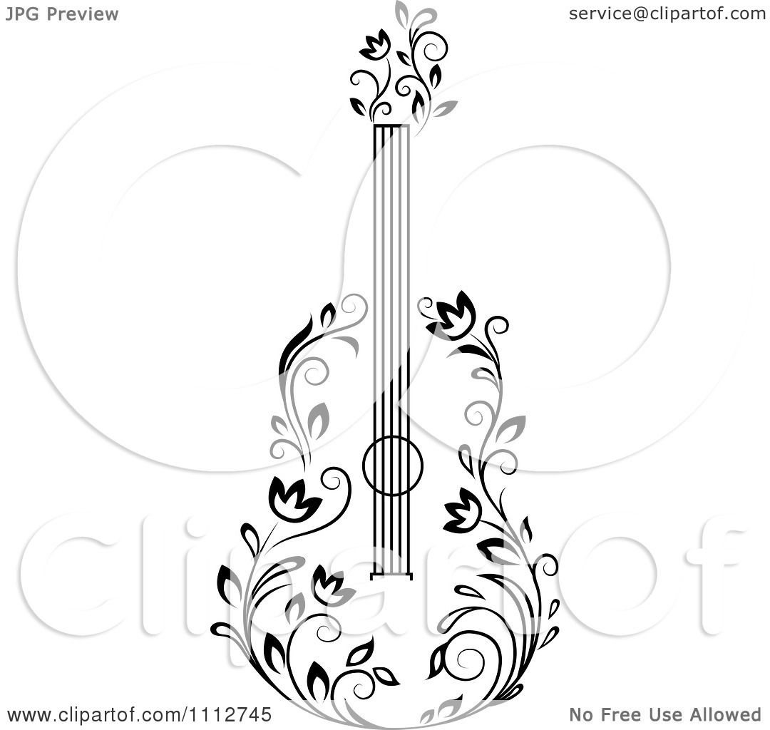 Clipart Black And White Floral Guitar 3