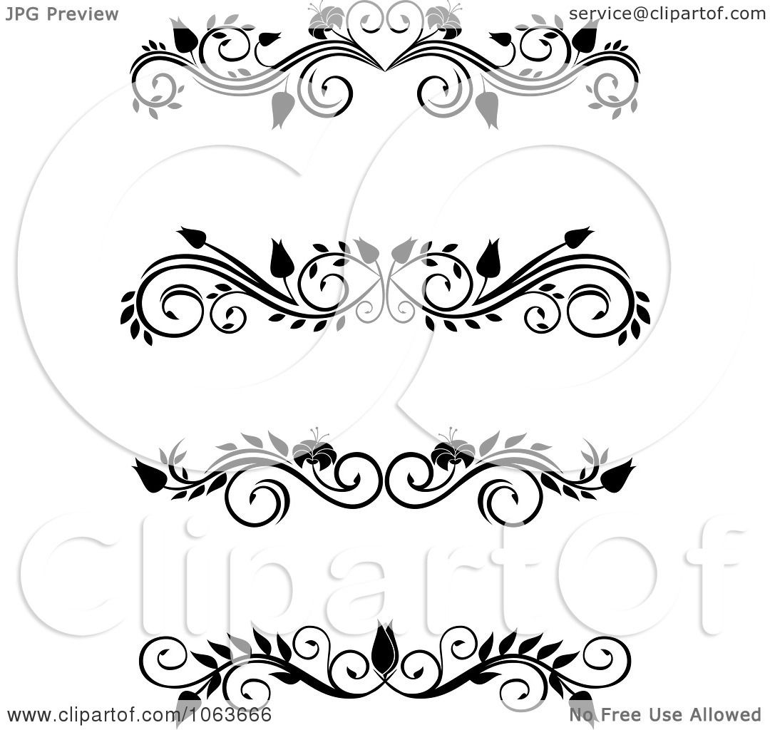 Clipart Black And White Flourish Borders Digital Collage 1