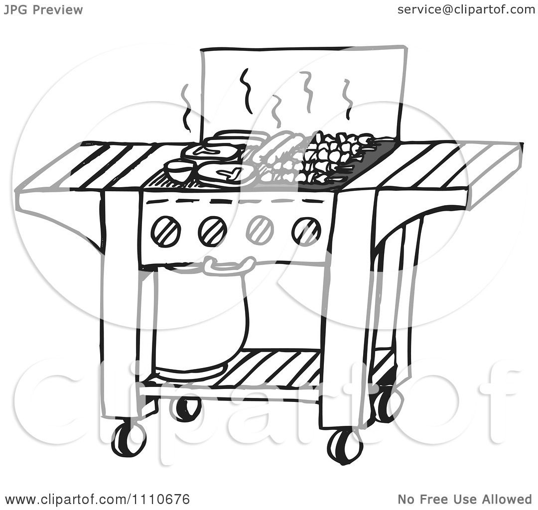 Clipart Black And White Gas Bbq Grill