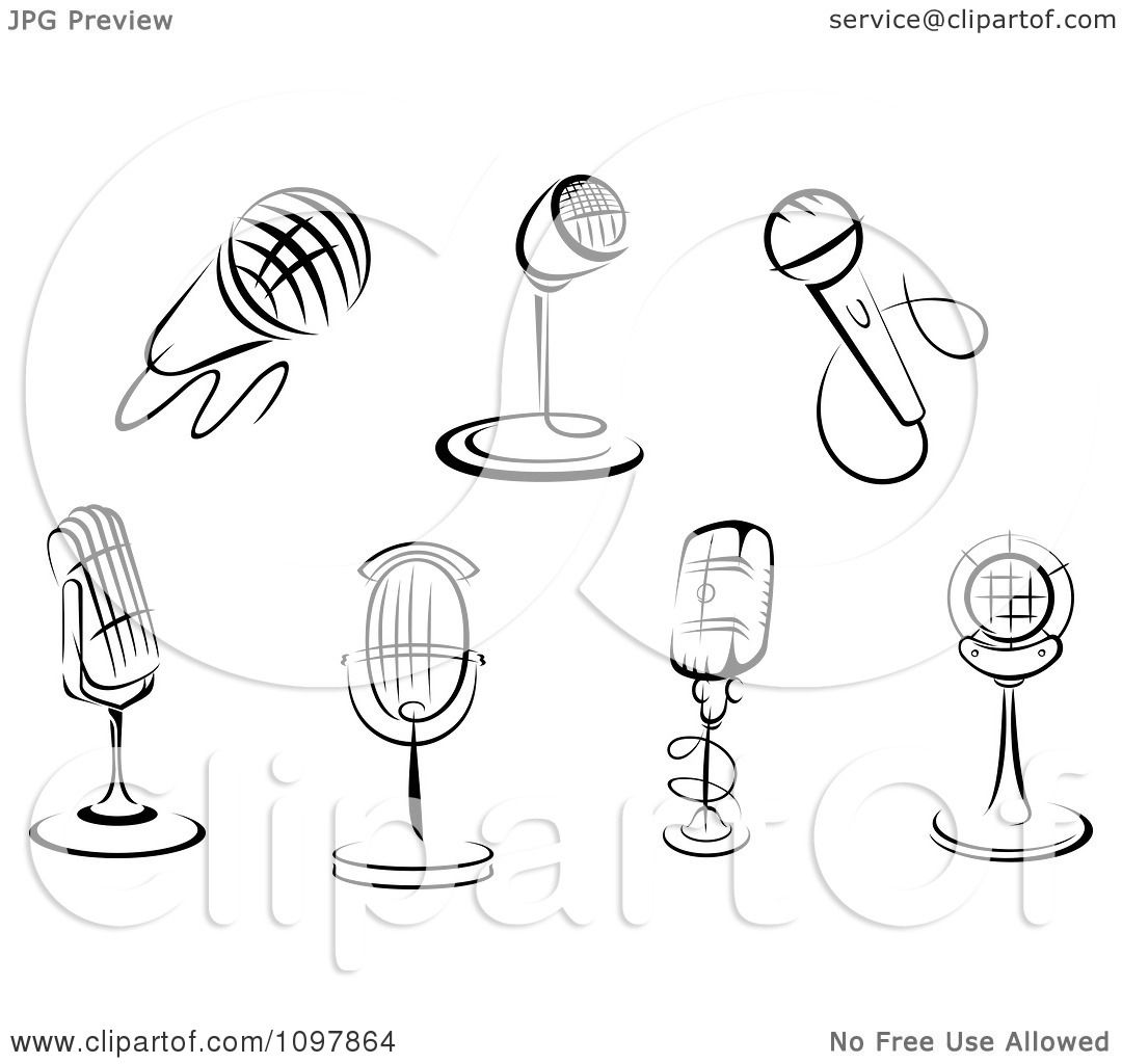 Clipart Black And White Karaoke Or Singer And Retro Radio