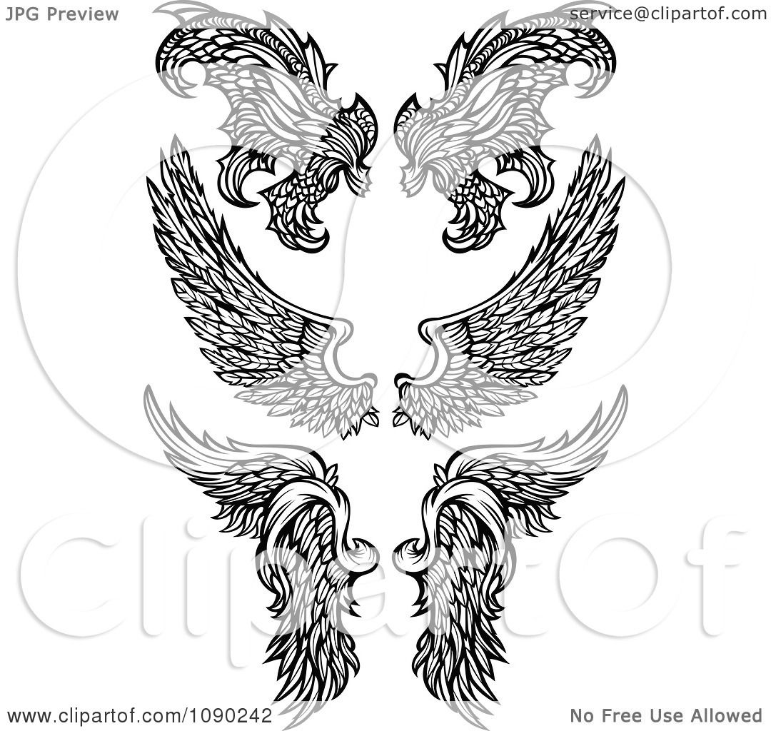 Clipart Black And White Ornate Angel And Demon Wings