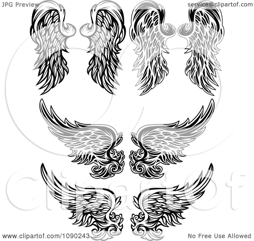 Clipart Black And White Ornate Angel Wings