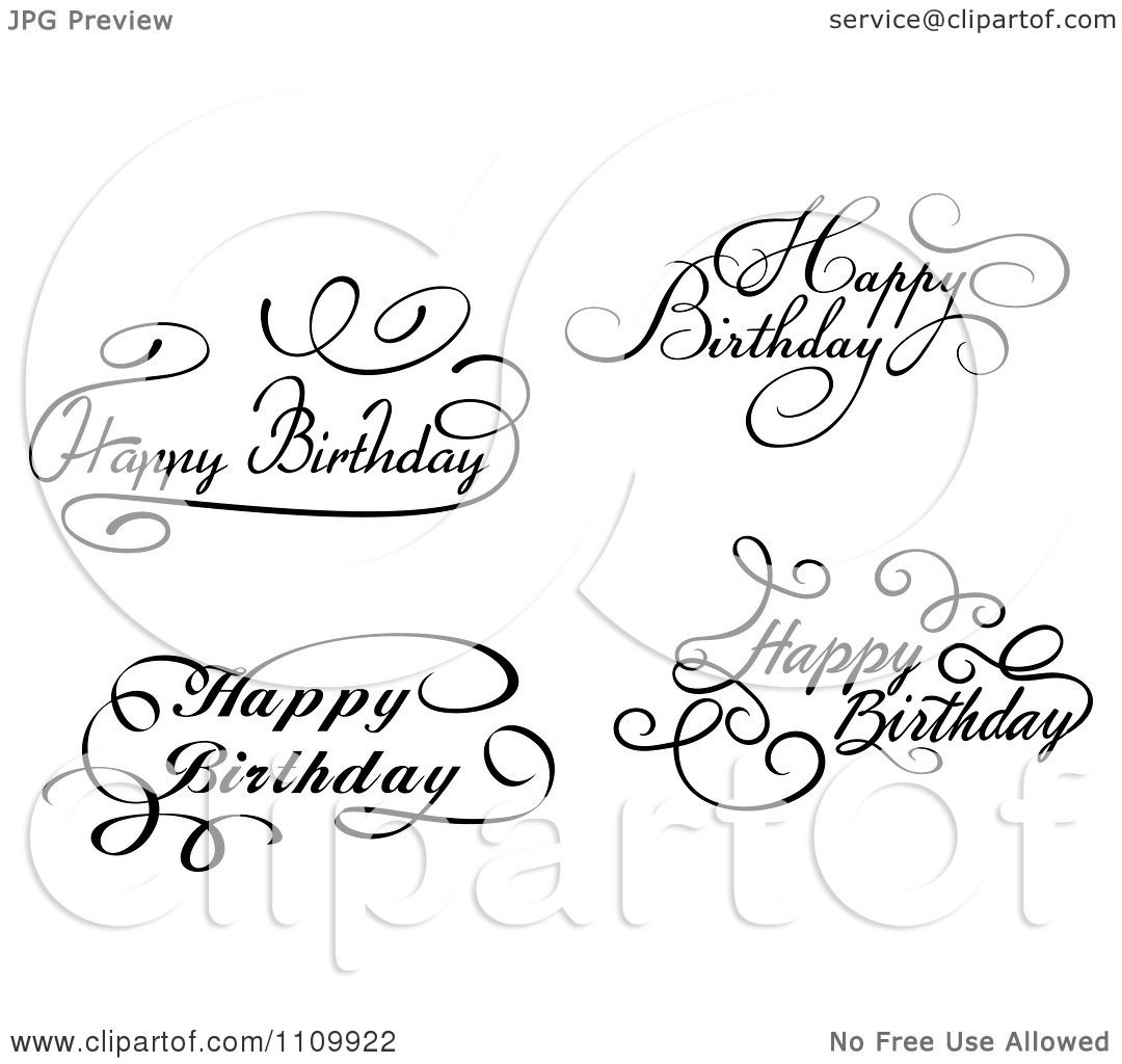 Clipart Black And White Ornate Hand Written Happy Birthday
