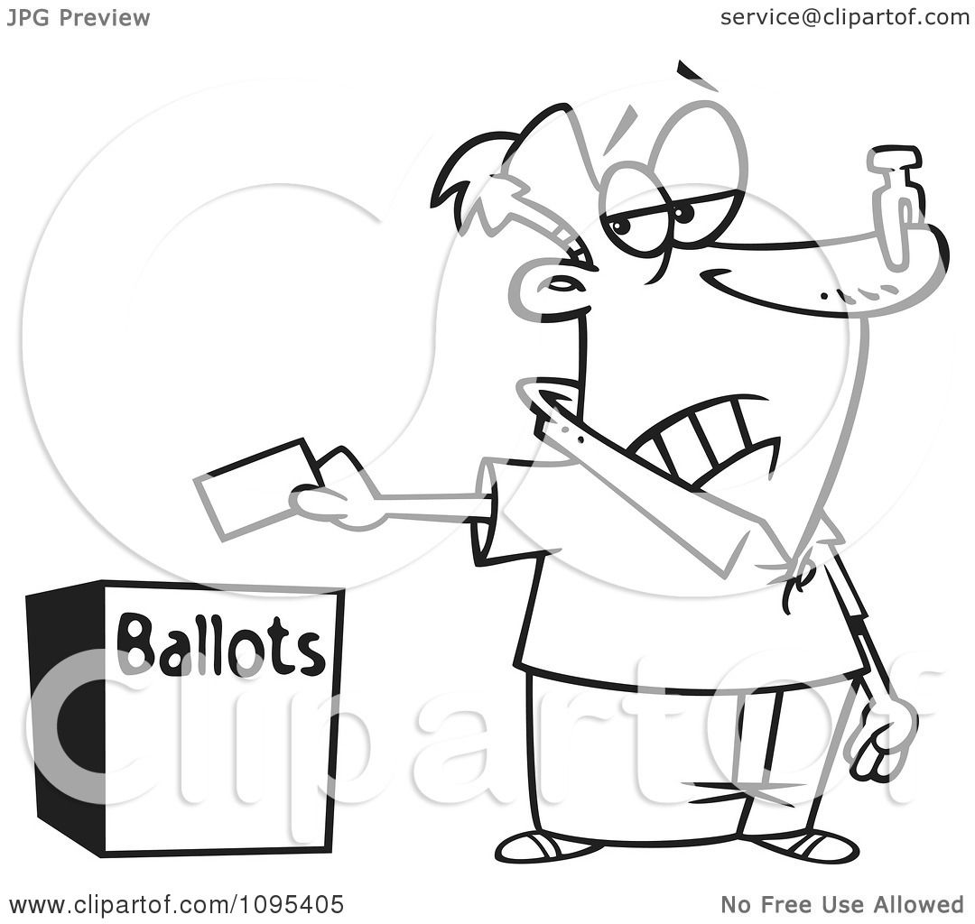 Clipart Black And White Outline Cartoon Voter With A Nose