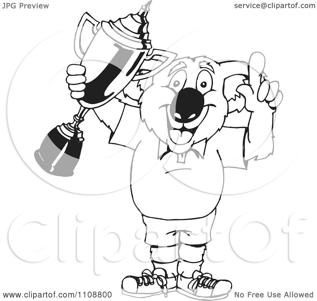 Clipart Black And White Outlined Winner Koala Holding A