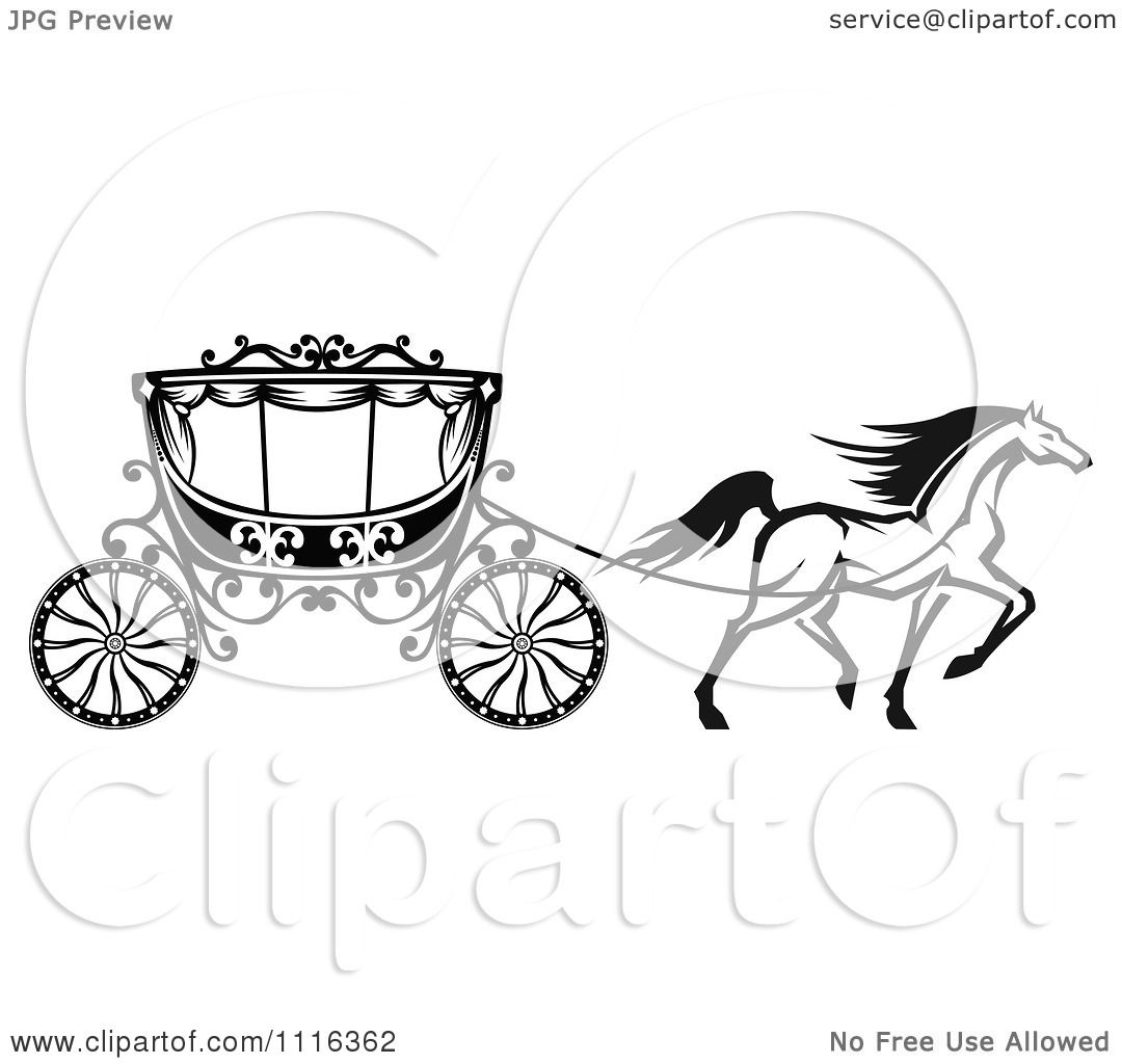 Clipart Black And White Prancing Horse And Romantic Wedding Carriage