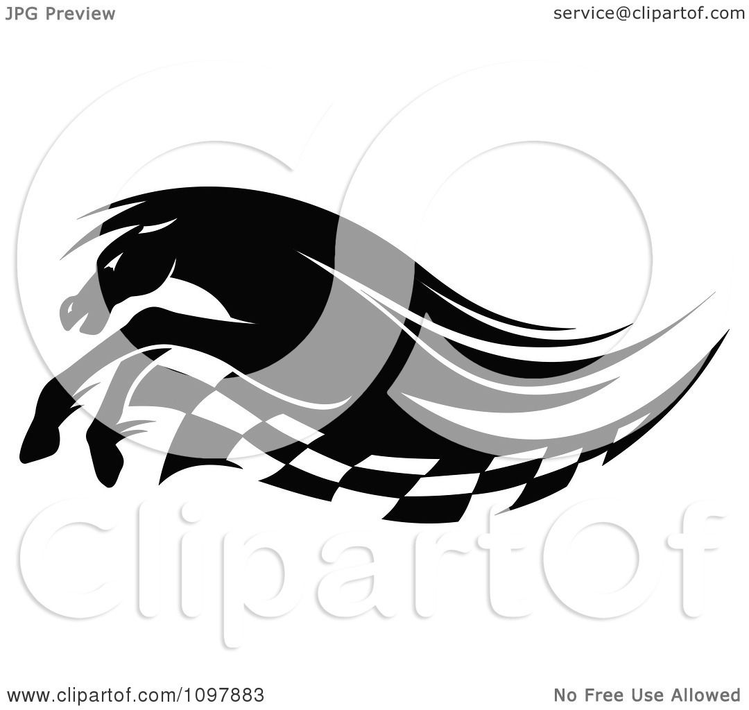 Clipart Black And White Running Race Horse And Checkered