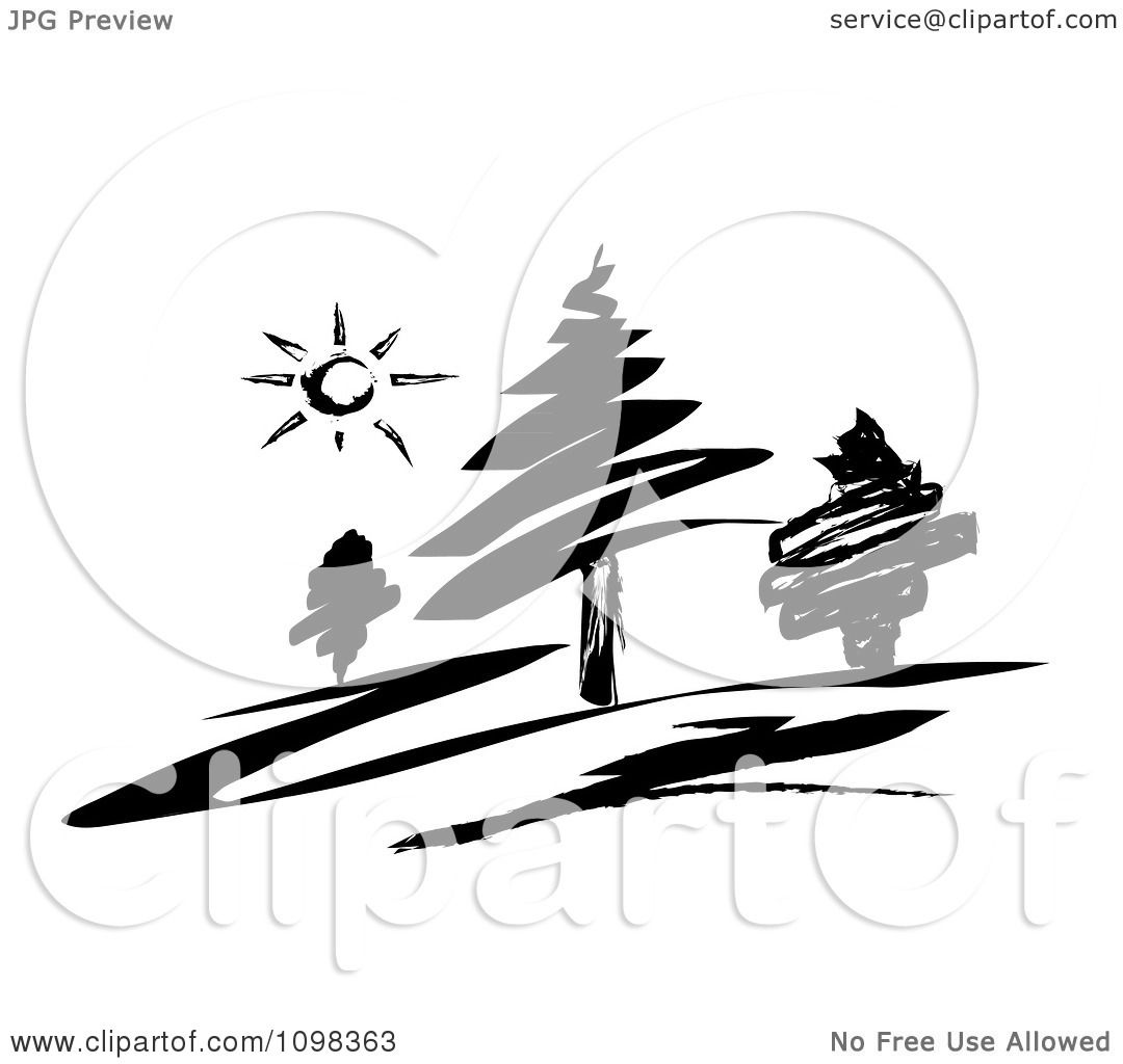 Clipart Black And White Sketched Landscape Of Evergreen