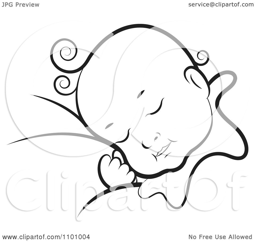 Clipart Black And White Sleeping Baby