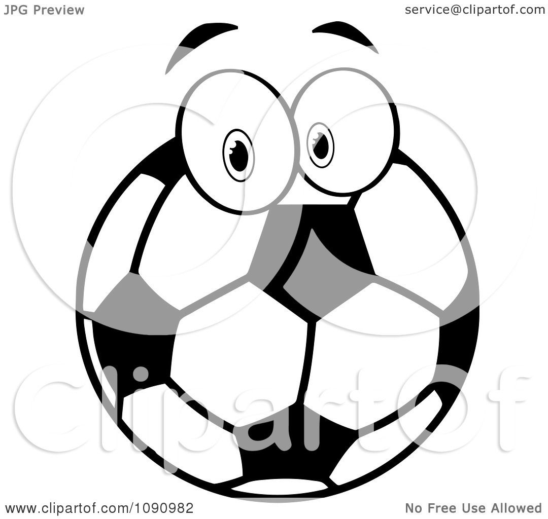 Clipart Black And White Soccer Ball Character