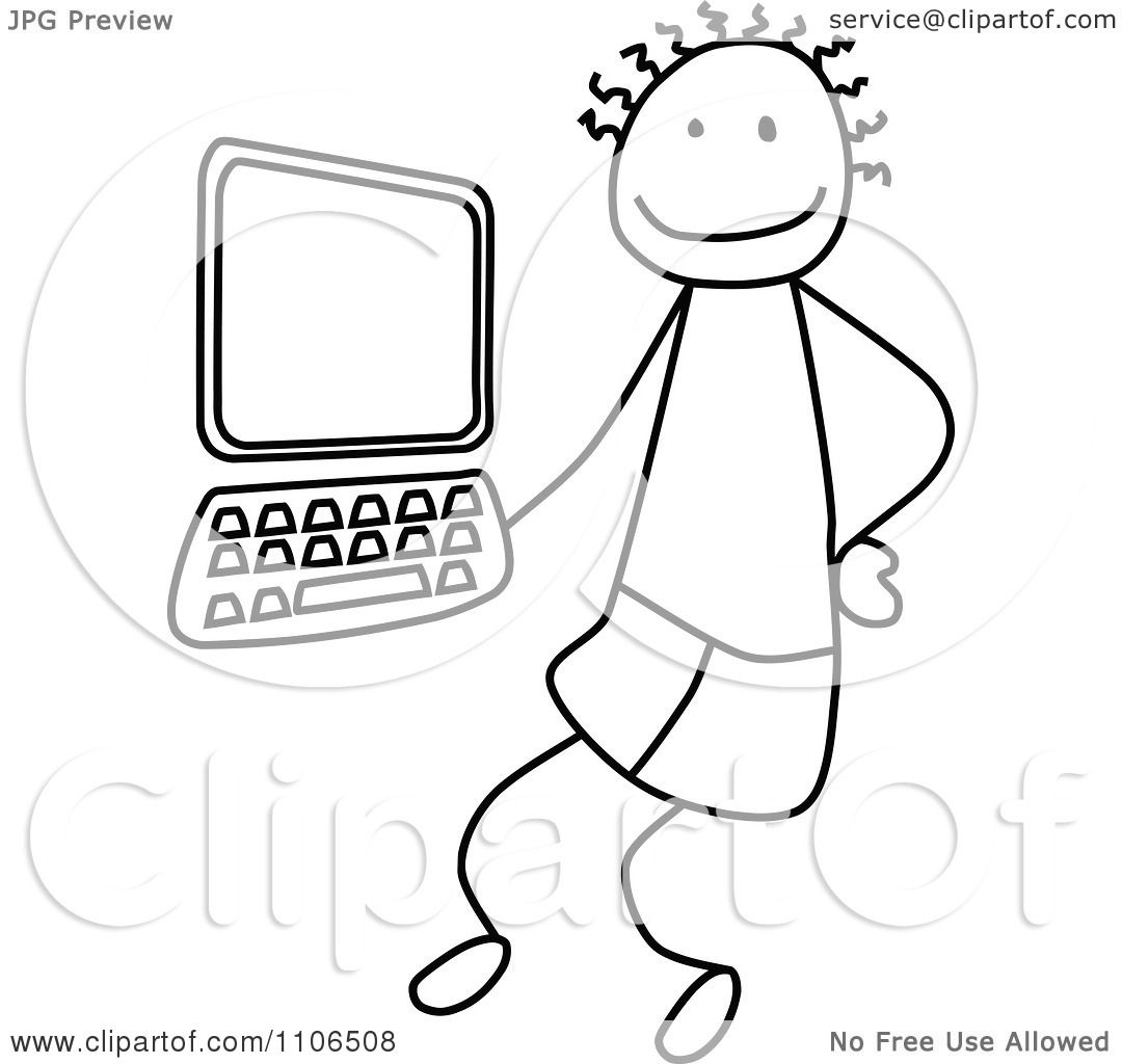 Clipart Black And White Stick Drawing Of A Tech Boy By A