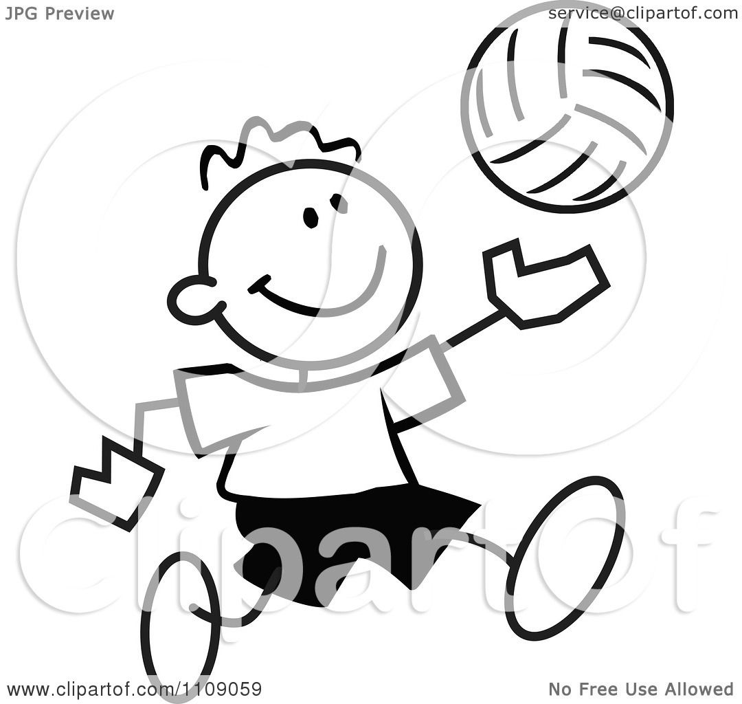 Clipart Black And White Sticker Volleyball Player Boy