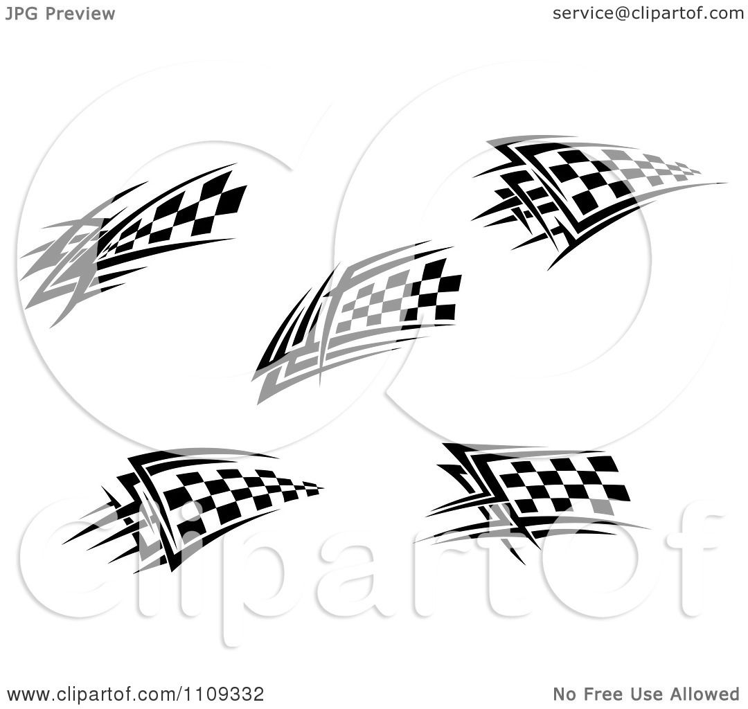 Clipart Black And White Tribal Checkered Racing Flags