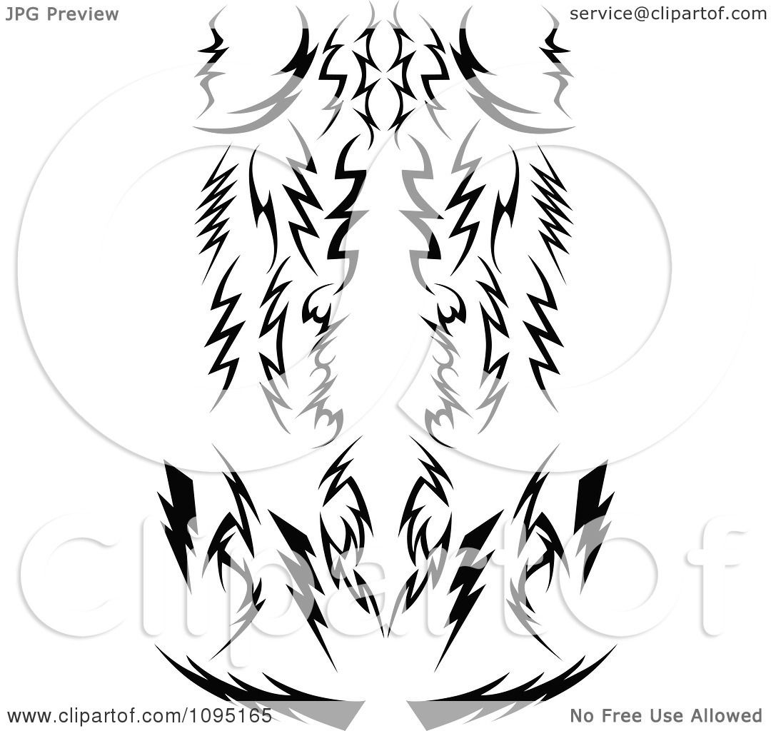 Clipart Black And White Tribal Lightning Bolts Arrows And