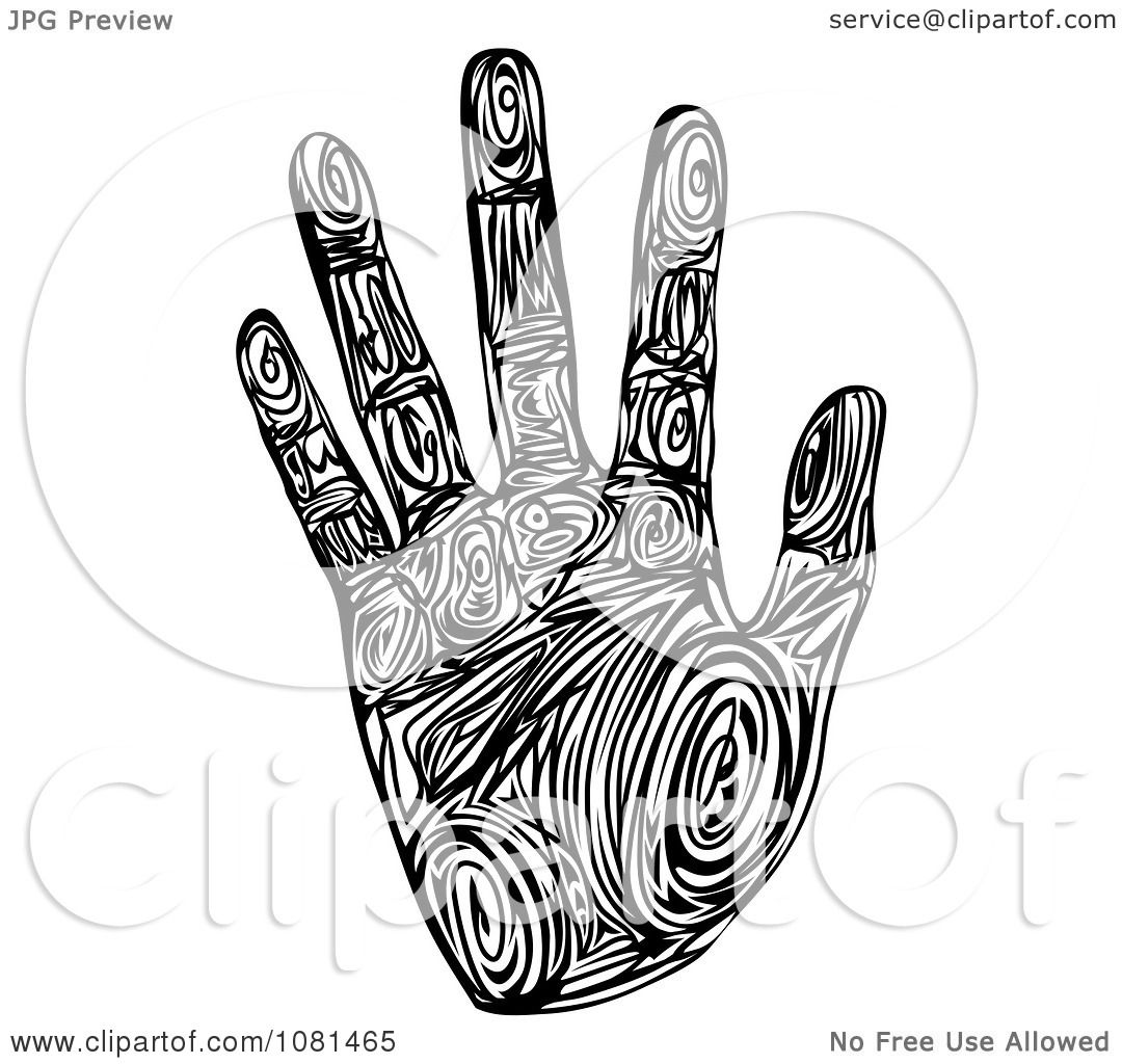 Clipart Black And White Tribal Patterned Hand Print