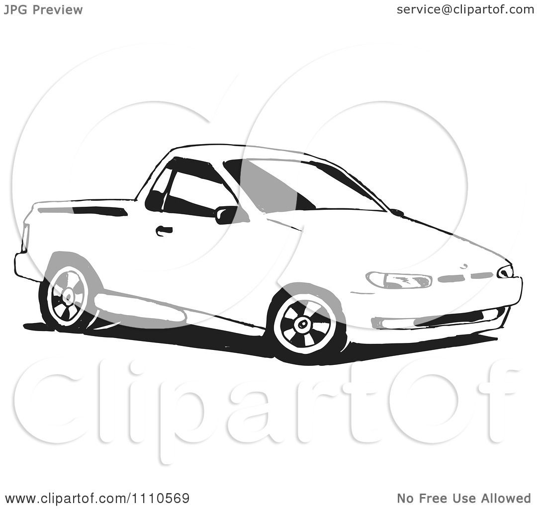 Clipart Black And White Ute Vehicle