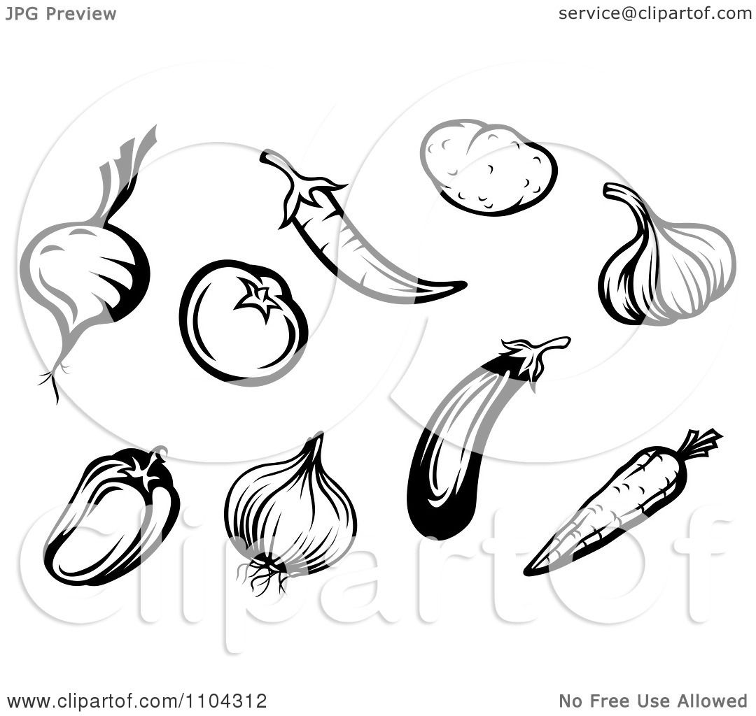 Clipart Black And White Vegetables A Beet Or Onion Tomato