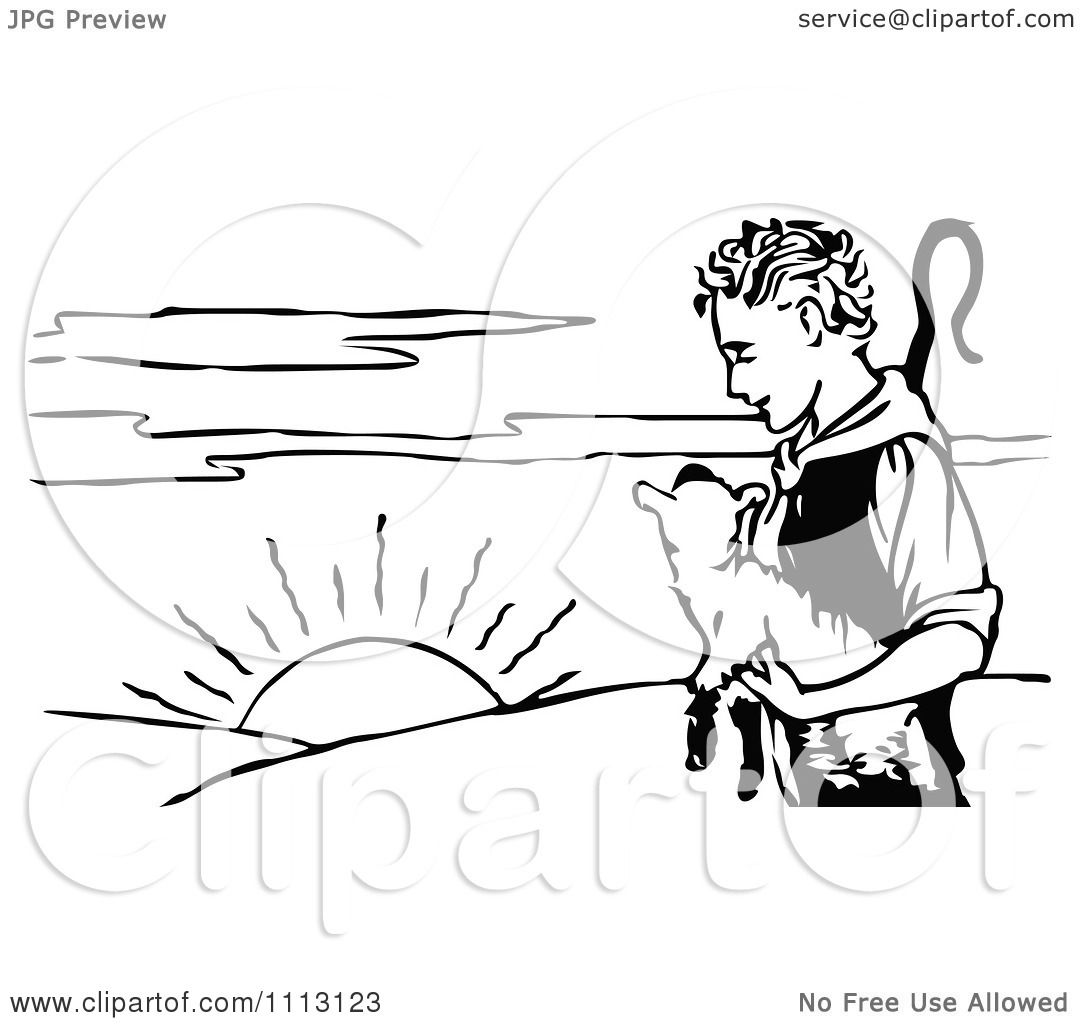 Clipart Black And White Young Shepherd Holding A Lamb At