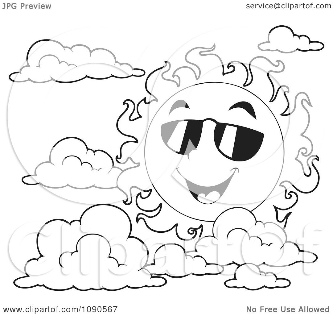 Clipart Coloring Page Outline Of A Happy Summer Sun With